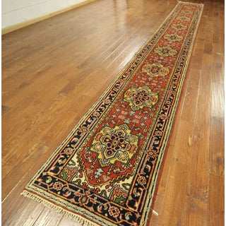 Authentic Runner Heriz Hand-knotted Wool Serapi Red Floral Rug (3' x 20')