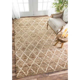 nuLOOM Hand-knotted Natural Fiber Braided Trellis Jute Natural Rug (5' x 8')