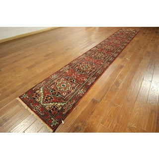 Rust Heriz Hand-knotted Wool Floral Runner Serapi Very Dyed Rug (3' x 16')