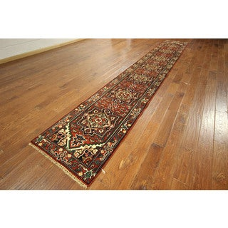 Heriz Very Dyed Rust Hand-knotted Floral Runner Serapi Wool Rug (3' x 16')