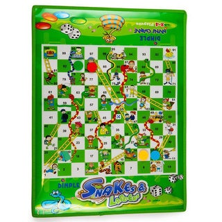 Dimple DC11966 2-4 Players Jumbo Snakes and Ladders Mat/Board with 4 Jumbo Pieces for Fun Childrens Playtime