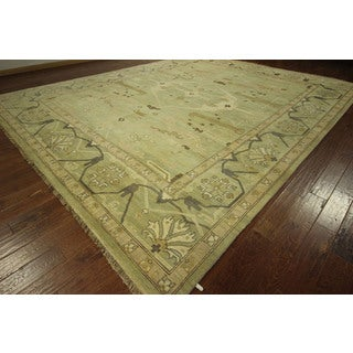 Unique Light Green Oushak Hand-knotted Wool Oriental Area Rug (2' x 15')
