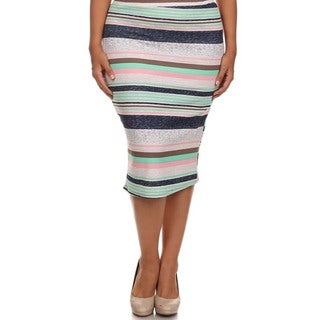 MOA Collection Women's Plus Size Striped High Waist Pencil Skirt (Option: Khaki)