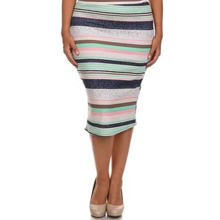 MOA Collection Women's Plus Size Striped High Waist Pencil Skirt