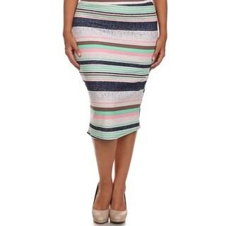 MOA Collection Women's Plus Size Striped High Waist Pencil Skirt
