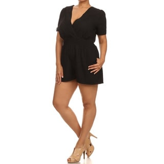 MOA Collection Women's Plus Size Romper with Pockets