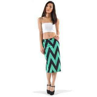 MOA Collection Women's Chevron Striped Pencil Skirt