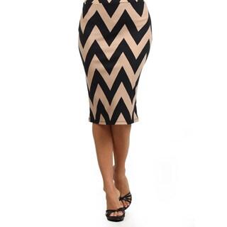 MOA Collection Women's Chevron Striped Pencil Skirt