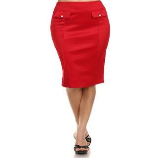 MOA Collection Women's Plus Size Pencil Skirt with Pocket Flap (Option: Green)|https://ak1.ostkcdn.com/images/products/10664339/P17729777.jpg?impolicy=medium