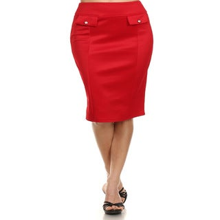 MOA Collection Women's Plus Size Pencil Skirt with Pocket Flap