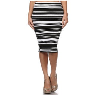 MOA Collection Women's Plus Size Skirt with Horizontal Stripes