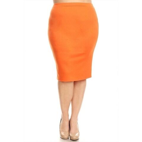 MOA Collection Women's Plus Size High Waist Pencil Skirt