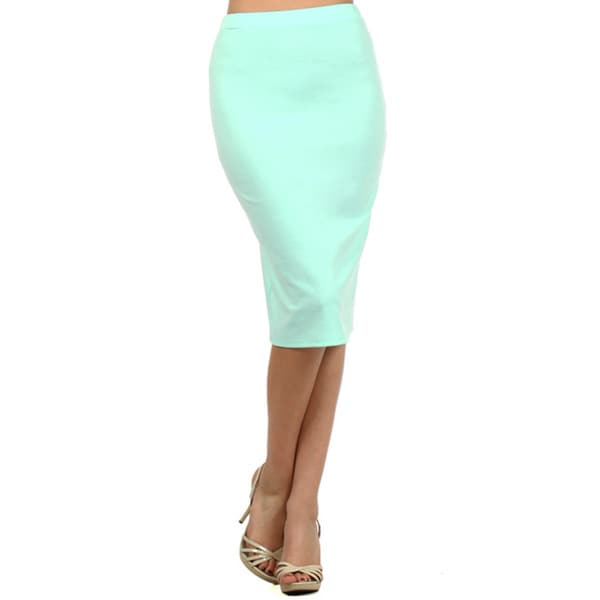 MOA Collection Women's Plus Size High Waist Pencil Skirt