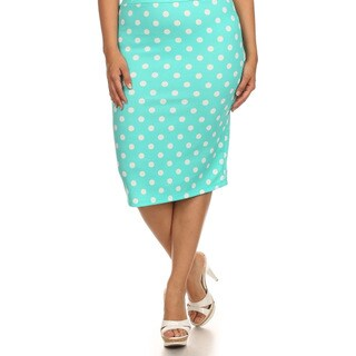 MOA Collection Women's Plus Size Polka Dot Skirt