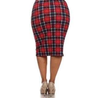MOA Collection Women's Plus Size High Waisted Plaid Print Skirt