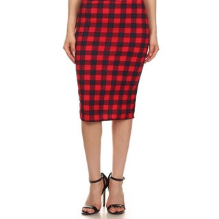 MOA Collection Women's Plus Size High Waisted Checkered Print Skirt
