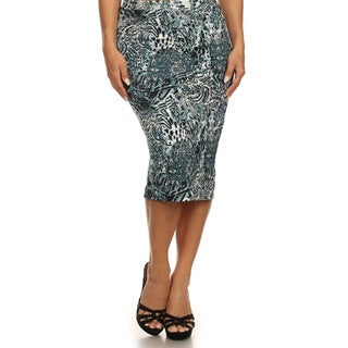 MOA Collection Women's Plus Size Animal Print Pencil Skirt