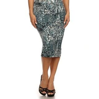 MOA Collection Women's Plus Size Animal Print Pencil Skirt
