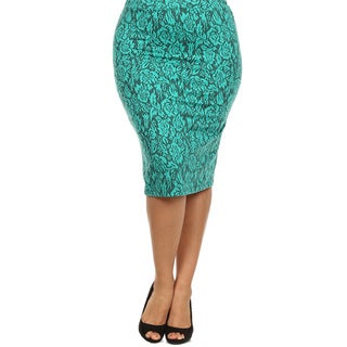 MOA Collection Women's Plus Size Skirt with Rose Print