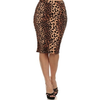 MOA Collection Women's Plus Size Skirt with Leopard Print