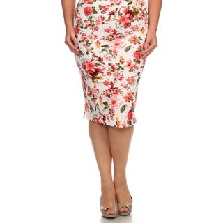 MOA Collection Women's Plus Size High Waisted Flower Print Skirt