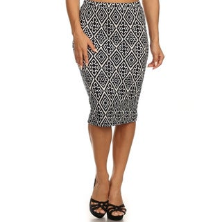 MOA Collection Women's Plus Size Skirt with Geometric Print