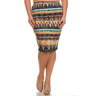 MOA Collection Women's Plus Size Aztec Print Skirt