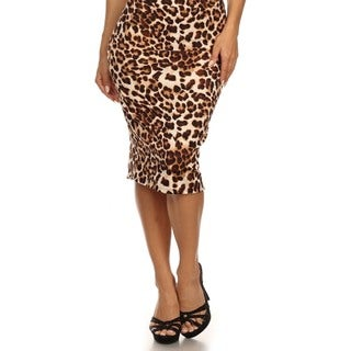 MOA Collection Women's Plus Size High Waisted Cheetah Print Skirt