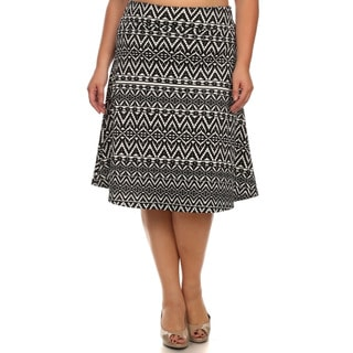 MOA Collection Women's Plus Size A-Line Skirt with Tribal Print