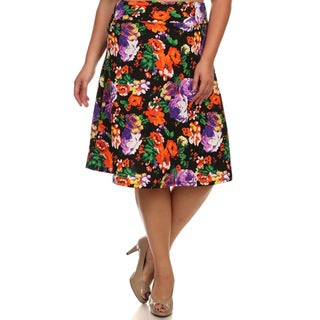 MOA Collection Women's Plus Size Floral Print A-Line Skirt