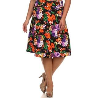 MOA Collection Women's Plus Size Floral Print A-Line Skirt