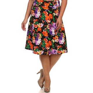 MOA Collection Women's Plus Size Floral Print A-Line Skirt|https://ak1.ostkcdn.com/images/products/10664360/P17729797.jpg?impolicy=medium