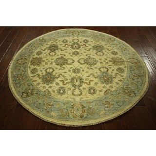 Floral Chobi Peshawar Round Ivory/ Mint Green Hand Kotted Wool Rug (5' Round)