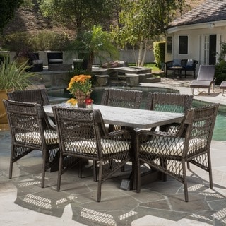 Magdalena Outdoor 7-piece Dining Set with Cushions by Christopher Knight Home