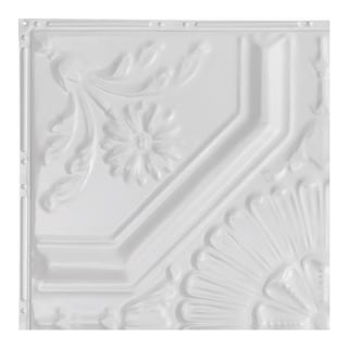 Great Lakes Tin Rochester Matte White 2-foot x 2-foot Nail-up Ceiling Tile (Carton of 5)