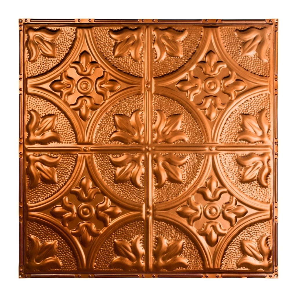Great Lakes Tin Jamestown Copper 2 Foot X 2 Foot Nail Up Ceiling Tile Carton Of 5 Overstock 10664457