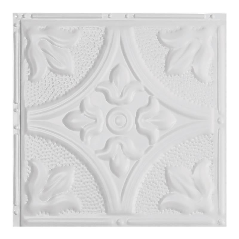 Great Lakes Tin Jamestown Matte White 2 Foot X 2 Foot Nail Up Ceiling Tile Carton Of 5 Overstock 10664465