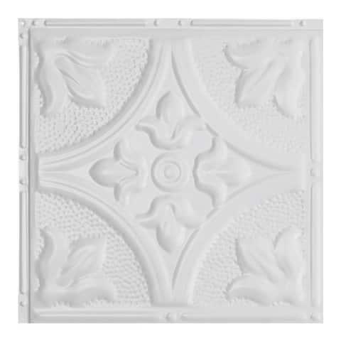Great Lakes Tin Jamestown Matte White 2-foot x 2-foot Nail-up Ceiling Tile (Carton of 5)