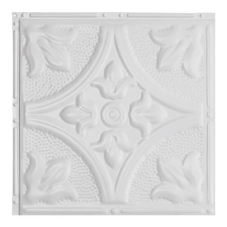 Great Lakes Tin Jamestown Matte White 2-foot x 2-foot Nail-up Ceiling Tile (Carton of 5)