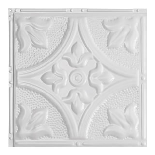 Great Lakes Tin Jamestown Gloss White 2-foot x 2-foot Nail-up Ceiling Tile (Carton of 5)