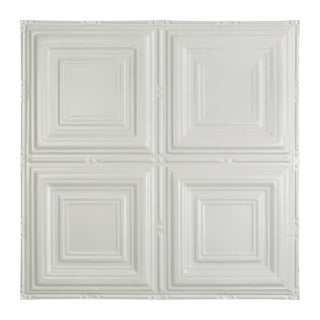 Great Lakes Tin Syracuse Matte White 2-foot x 2-foot Nail-up Ceiling Tile (Carton of 5)