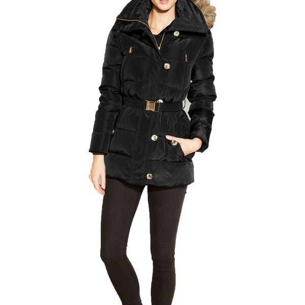 Michael Michael Kors Black Down Puffer Hooded Coat. Opens flyout.