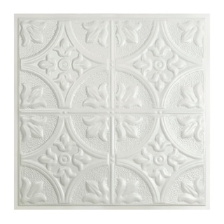 Great Lakes Tin Jamestown Gloss White 2-foot x 2-foot Lay-in Ceiling Tile (Carton of 5)