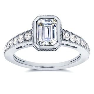 Annello by Kobelli 14k White Gold Emerald Forever Brilliant Moissanite Bezel and 1/4ct TDW Diamond E