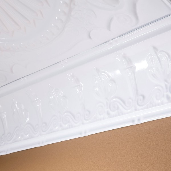 Great lakes tin superior gloss white 48 inch crown molding for 9 inch crown molding