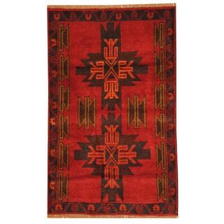 Herat Oriental Afghan Hand-knotted Tribal Balouchi Wool Rug (2'8 x 4'4)