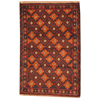 Herat Oriental Afghan Hand-knotted Tribal Balouchi Red/ Navy Wool Rug (2'10 x 4'7)