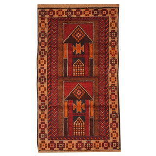 Herat Oriental Afghan Hand-knotted Tribal Balouchi Red/ Navy Wool Rug (2'9 x 4'8)