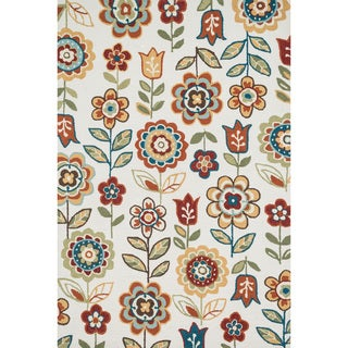Hand-hooked Charlotte Ivory/ Multi Floral Rug (7'6 x 9'6)