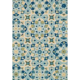 Hand-hooked Charlotte Turquoise/ Sea Kaleidoscope Rug (3'6 x 5'6)